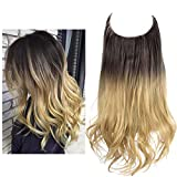 Hair Extension Ombre Dark Brown to Sandy Blonde Curly Synthetic Halo Hairpiece Short 14 Inch 3.7 Oz Hidden Wire Headband for Women Heat Friendly Fiber No Clip SARLA(M04&6T25)