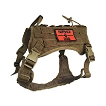 AegisTac Tactical Military Service Adjustable Harness Dog Vest Training Molle Nylon Outdoor Adventure Hiking Hunting Pet Vest Packs Coat with Handle (M, Coyote Brown)