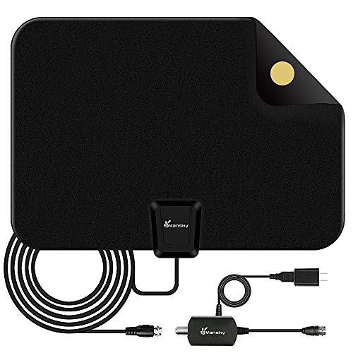 HDTV Antenna - Vansky Digital Amplified HD TV Antenna 60-90 Mile Range 4K HD VHF UHF Freeview Television Local Channels Detachable Signal Amplifier and 16.5ft Longer Coax Cable (Best Way To Get Channels Without Cable)