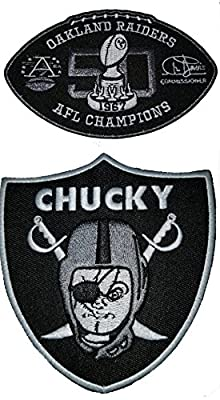 RN4Life Chucky Raider Patch & 50 Anniversary Patch Iron On Oakland Raiders Patches