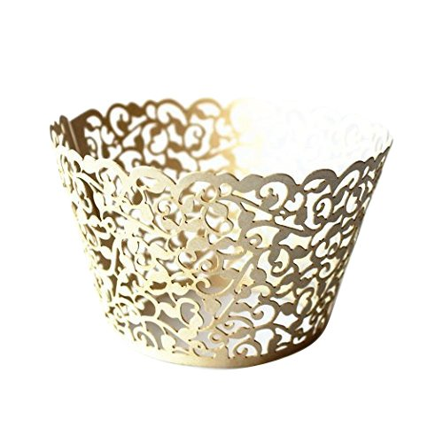 Gospire 50 pcs Pearl Lace Filigree Wedding Cupcake Wrapper Baking Cake Cups Wraps Party Decoration Laser Cut Titanium White ()