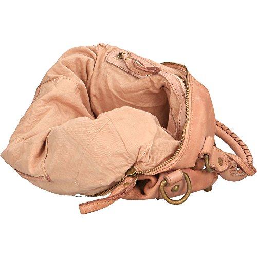 Bolso de mujer Chicca Borse Vintage en Piel Genuina Trenzado Made in Italy 35x26x12 Cm Rosado