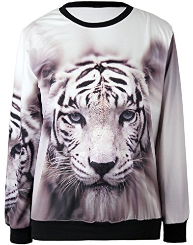 Thenice - Sudadera - Animal Print - Manga Larga - para mujer White Tiger