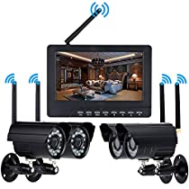 KKmoon Digital Wireless DVR Security System with 7 Inch LCD Monitor SD Card Recording and 4 Long Range Night Vision Cameras