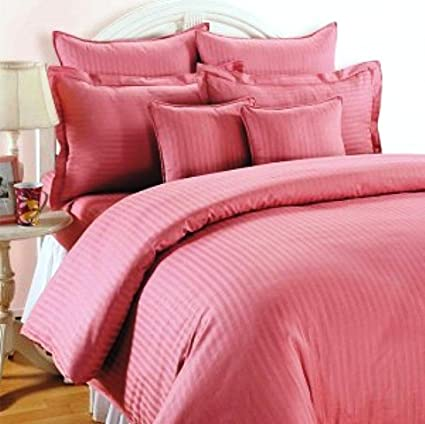 Trance Home Linen Cotton 210 Tc King Fitted Bedsheet with 2 Pillow Covers (Rose Pink, 78x72-inch)