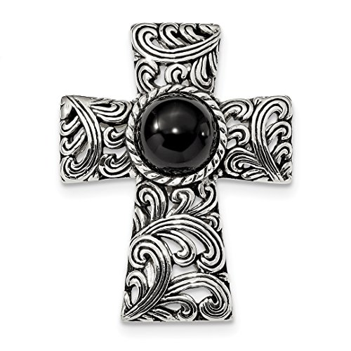 ICE CARATS 925 Sterling Silver Filigree Black Onyx Cabochon Slide Religious Cross Latin Fine Jewelry Ideal Mothers Day Gifts For Mom Women Gift Set From (Black Onyx Sterling Silver Slide)