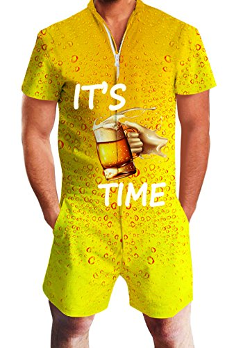 Men's Rompers Male Zipper Jumpsuit Shorts Cool Beer Printed One Piece Slim Fit Outfits Bro Short Sleeve -