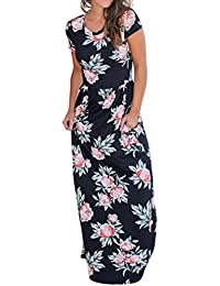 Wintialy Women Casual O Neck Print Floral Short Sleeve Ankle-Length Dress