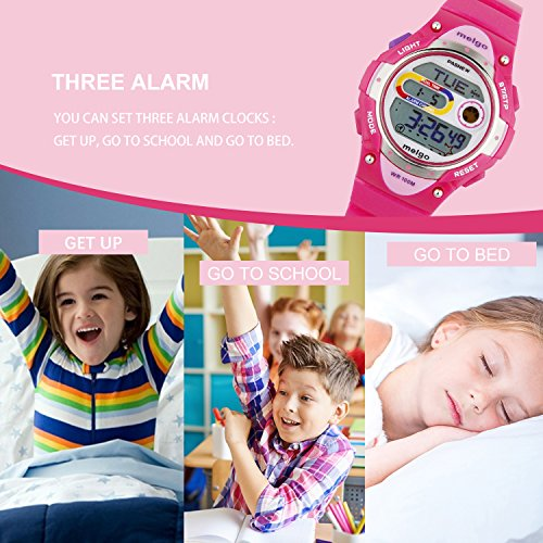 Jewtme Pasnew LED Waterproof 100m Sports Digital Watch for Children Girls Boys (Pink) by PASNEW (Image #2)