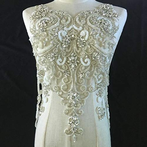 - Dalab-Style Deluxe Handmade Large Rhinestone Bodice Crystal Applique for Wedding Dress French Lace Sinblood Terry Malick Ballgown