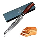 Yarenh Serrated Bread Knife 8 inch,Japanese Super 67 Layers Damascus Steel Kitchen Knife,Dalbergia Wood Handle,Gift Box Packaging,Professional Chef's Knives HTT-Series