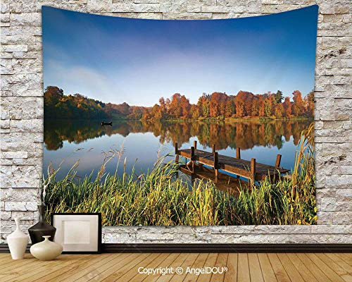 (AngelDOU Scenery Decor Dorm Decor Wall Hanging Tapestry Lake View Fishing Countryside Themed with Trees and Long Reeds Art Photo for Living Room Bedroom.W78.7xL59(inch))