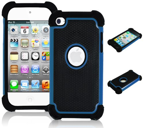 Black 4th Generation Ipod (iPod Touch 4 Case, Bastex Hybrid Slim Fit Black Rubber Silicone Cover Hard Plastic Blue & Black Shock Case for Apple iPod Touch 4, 4th Generation)