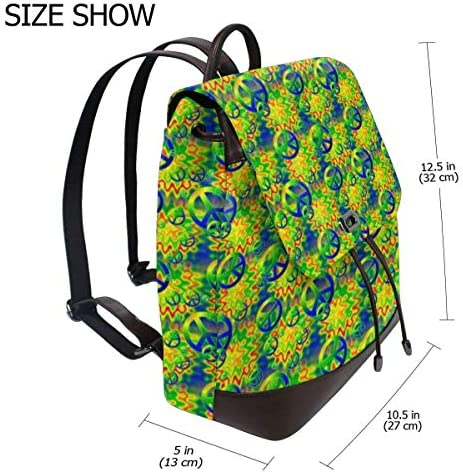 zaino da donna in pelle Rainbow Tie-dye Peace Signs Women Backpack Leather Backpack For Women Ladies Shoulder Bags Schoolbag Casual Daypack Backpack For Girls Fashion PU Travel bags