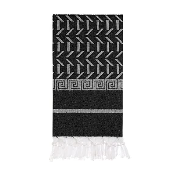 Cacala Sparta Series - Turkish Pestemals and Towels Black - 100 x 175 cm ( 37 x 69 inches) - 375 grams (0.83 pounds) Manufactured by Cacala and 100% Made in Turkey Unlike most towels , they get softer and more luscious the more you wash and use them. - bathroom-linens, bathroom, bath-towels - 51Y77L3EG L. SS570  -