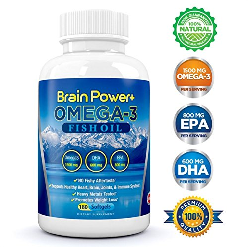 Brain Power + Omega 3 huile de poisson supplément liquide Softgel capsules (1500mg acides gras oméga 3 - 800mg EPA - 600mg DHA) - sans arrière-goût de poisson - métaux lourds testés - Favorise Joints système immunitaire Brain Heart et perte de poids - Mad