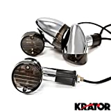 Krator Motorcycle 4 pcs Smoke Bullet Turn Signals Lights For Suzuki Intruder Volusia VS 700 750 800 1400 1500