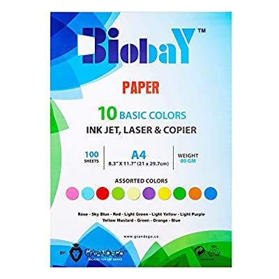 BIOBAY 100 Assorted Color Copy Paper | Convenient Multipack InkJet, Laser & Copier Sized – 10 Colors, 100 sheets – A4 Size