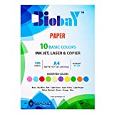BIOBAY 100 Assorted Color Copy Paper | Convenient Multipack InkJet, Laser & Copier Sized – 10 Colors, 100 sheets – A4 Size
