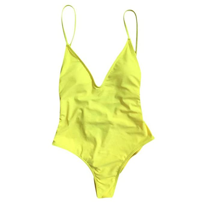 68d74fb86549c Pure Color Piece V-Neck Swimsuit Sexy High Cross Cross Strap Sexy Thong  Beach Low