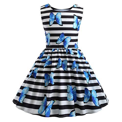 Sunhusing Toddler Girls Round Neck Sleeveless Printed Princess Dress High Waist Pleated A-Line Sundress Light Blue