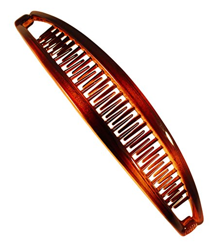 Parcelona French Extra Long 6.5 Inches Celluloid Tortoise Shell Ponytail Holder Large Banana Hair Clip