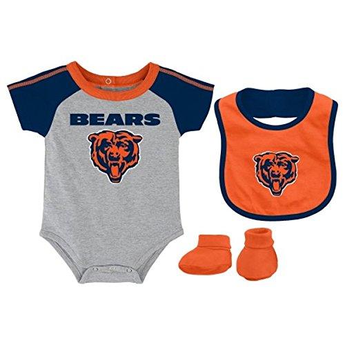 Chicago Bears Grey Newborn Creeper, Bib and Bootie Set by Adidas