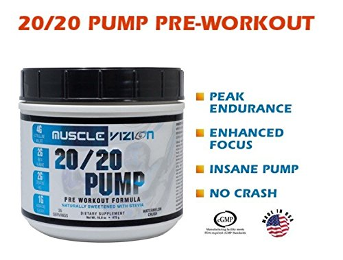 Muscle Vizion 20/20 PUMP Pre Workout, Extreme Pump Clean Energy Laser Focus Endurance and No Crash All Natural Flavors and Sweetners (ZERO Cal)
