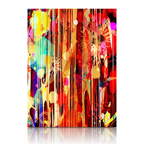 Canvas Print Wall Art Texture Colorful Floral Boho Stripes Wooden Frame Stretched Artwork Painting 12 x 12 Home Decor Sofa Bedroom Living Room ()