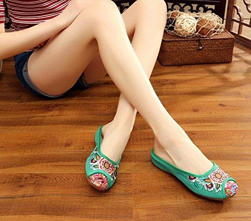 ZLL Gestickte Schuhe, Sehnensohle, ethnischer Stil, weiblicher Flip Flop, Mode, bequeme, lässige Sandalen , green , 40