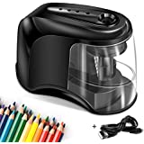 Electric Pencil Sharpener, Ultra-Portable USB or 4 AA Batteries Operated, Durable and Auto High-Speed Helical Blade to Fast Sharpen for Artist Student Home Office School Classroom No.2/Colored Pencils