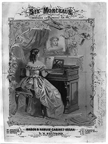 Photo: PHOTO ONLY of Sheet Music Cover,Six Morceaux,Mason & Hamlin Cabinet Organ,c1864 (Cabinet For Sheet Music)
