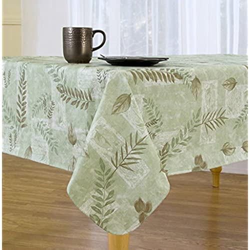 Boxed Fern Flannel Backed Vinyl Tablecloth Indoor Outdoor, 60 Inch By 84  Oval, Sage