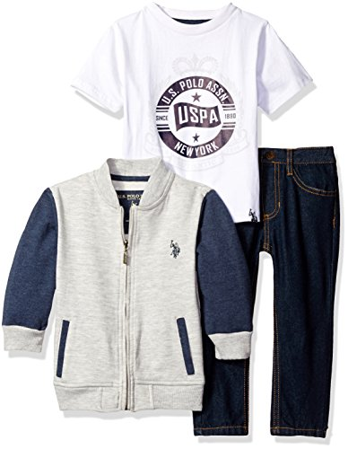U.S. Polo Assn. Little Boys' Toddler Varsity French Terry Jacket, T-Shirt and Denim Jean, White, 4T