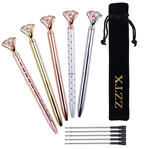 ZZTX 5PCS Big Crystal Diamond Ballpoint Pen Bling Metal Ballpoint Pen Office Supplies, Rose Gold/Silver/Rose Gold With White Polka Dots, Includes 5 Black Velvet Bags and 5pcs ()