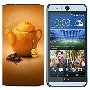 - Orange Cup - - Cubierta del caso de impacto con el patr??n Art Designs FOR HTC Desire EYE M910x Queen Pattern