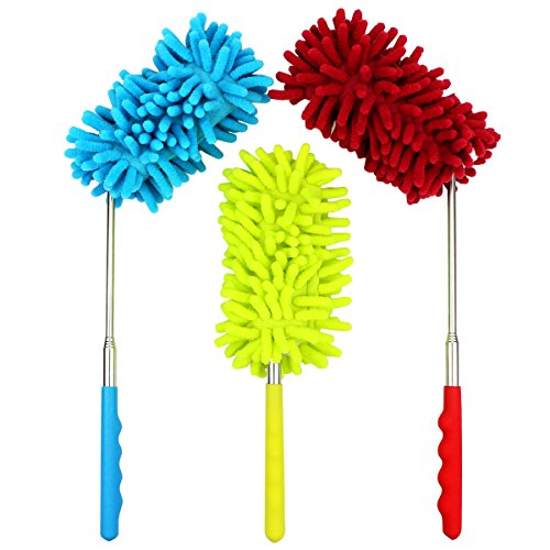 (Retractable Long-Reach Washable Dusting Brush, 90° Flexible Microfiber Hand Duster with Telescoping Pole(Set of 3) (Yellow, Blue, Red))