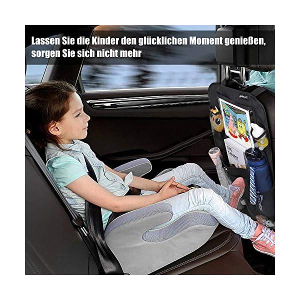 51Y79cD79QL Auto Rückenlehnenschutz Ezilif 2 Stück Groß Auto Rücksitz Organizer für Kinder, 600D Oxford Stoff Wasserdicht…