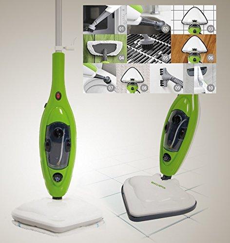 Scopa a vapore elettrica lavapavimenti x10 in 1 steam mop con molti accessori e panni inclusi - Vaporetto per piastrelle ...