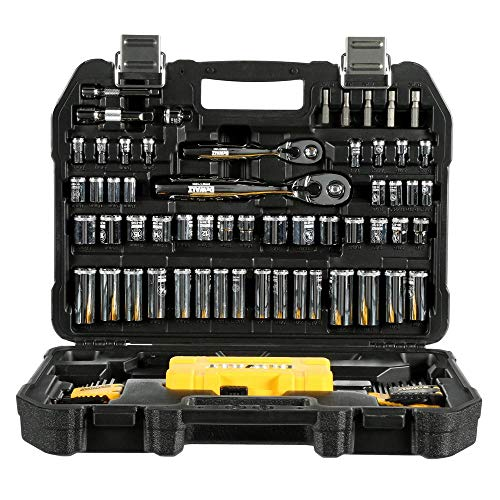 Professional Mechanic Tool Set Chrome with Case (108-Pc). Complete Mechanics Tools Kit w/Box Organizer & Storage has Variety of Automotive Equipment & Accesories for Car Repair. Gift for Men & Women by DEWALTS Tools (Image #1)