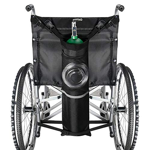SHKY Oxygen Cylinder Bag for Wheelchairs with Buckles, Fits Any Wheelchair, Black (Fits Most Oxygen cylinders),for Medical, Home, Hospital