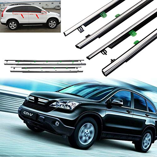 Tengchang Window Weatherstrip Trim for Honda CR-V 07-11, 4xCar SUV Outside Moulding Seal Belt (Chrome Surface)