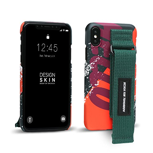 iPhone X Case, DesignSkin [GRAPHIC STRAP] Hand Strap Holder Grip Adjustable Hook/Loop Fastener Band Adhesive Velcro Kickstand Unique Street Fashion Style Cover - Oragne / Hello