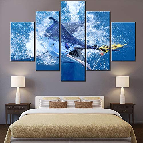 Living Room Decorations for Wall Big Fish Shark Painting Blue Ocean Wave Pictures 5 Piece Canvas Wall Art aquarium Artwork Modern House Decor Framed Posters and Prints Ready to Hang(60''W x 40''H)