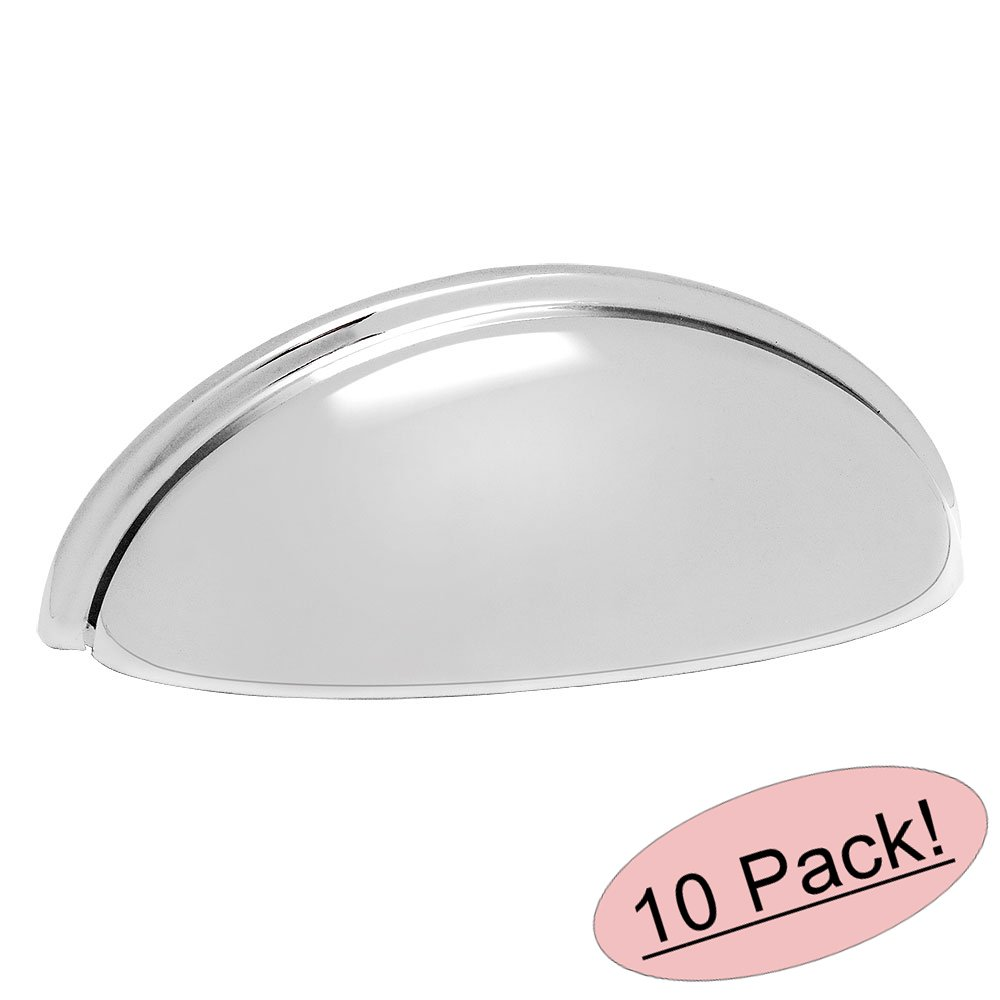 "Cosmas 783CH Polished Chrome Cabinet Hardware Bin Cup Drawer Handle Pull - 3"" Hole Centers - 10 Pack"