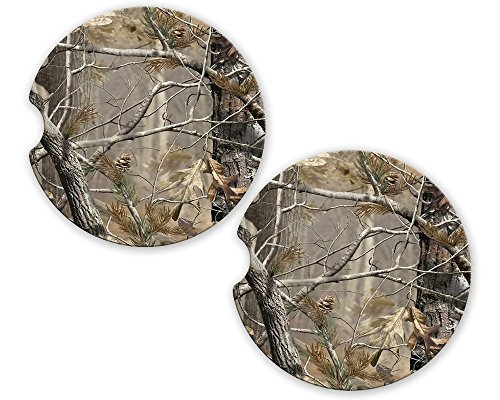 Camo Sandstone Car Cup Holder Matching Coaster Set by BrownInnovativeMedia