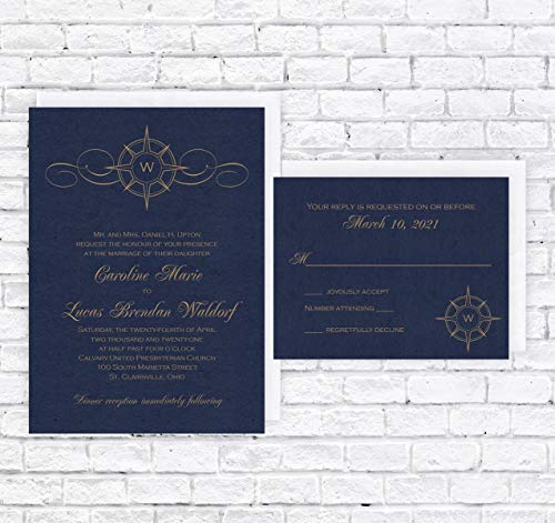 (Compass Wedding Invitation & RSVP Cards with Envelopes - Set of 25 -)