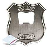 Kikkerland Open UP! Police Badge Stainless Steel Bottle Opener + Free KarenDeals Microfiber