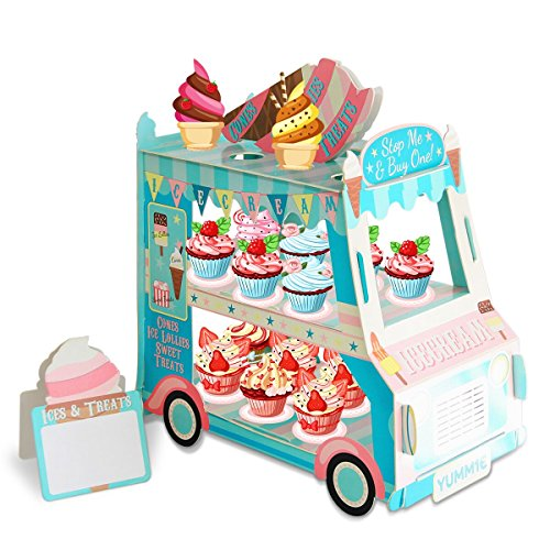 - 3 Tier Cake Stand | Ice Cream Food Cart Party Decorations| Van Shape Cupcake Stand Holder | For Theme & Birthday Party