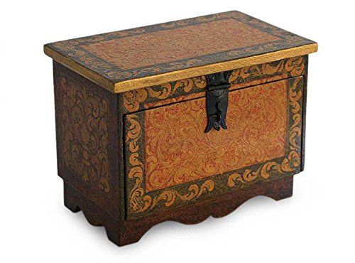 NOVICA Decorative Wood Box, Brown 'Colonial Trunk' by NOVICA